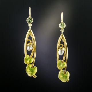 Art Nouveau Peridot and Pearl Earrings - 2