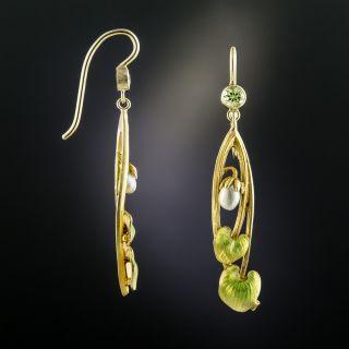 Art Nouveau Peridot and Pearl Earrings