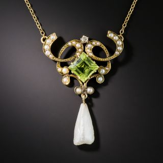 Art Nouveau Peridot and Pearl Necklace by Ehrlick and Sinnock - 3