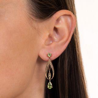 Art Nouveau Peridot and Seed Pearl Drop Earrings
