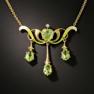Art Nouveau Peridot and Pearl Necklace - 2