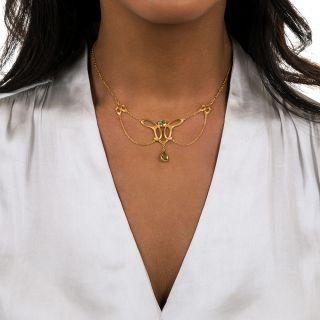 Art Nouveau Peridot Swag Necklace