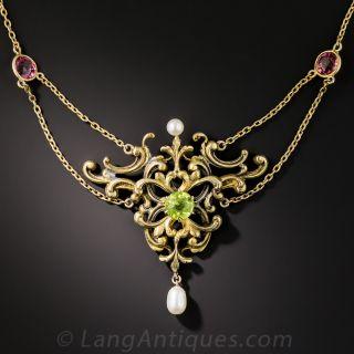 Art Nouveau Peridot, Tourmaline and Pearl Necklace