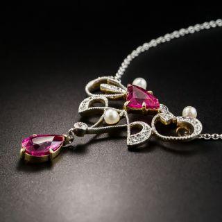 Art Nouveau Pink Tourmaline, Diamond and Pearl Pendant