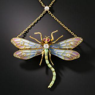 Art Nouveau Plique-à-Jour and Diamond Dragonfly Necklace / Brooch - 1