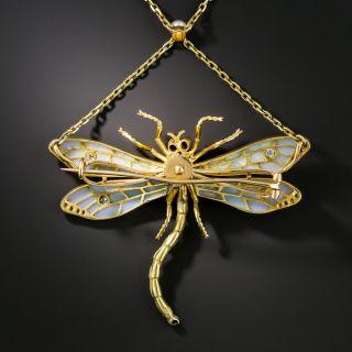 Art Nouveau Plique-à-Jour and Diamond Dragonfly Necklace / Brooch