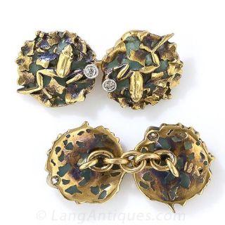 Art Nouveau Plique-a-Jour and Diamond Frog Cufflinks