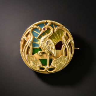 Art Nouveau Plique-a-Jour Crane Pin by Riker Brothers - 1