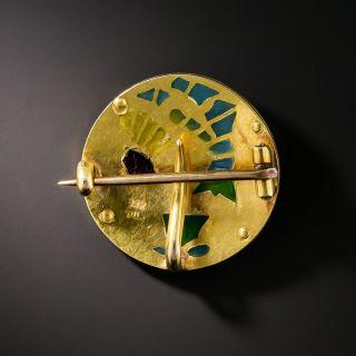 Art Nouveau Plique-a-Jour Crane Pin by Riker Brothers