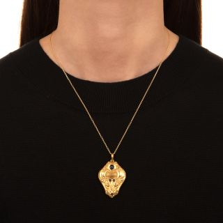Art Nouveau Sapphire and Diamond Locket
