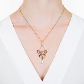 Art Nouveau Sapphire, Diamond and Pearl Necklace