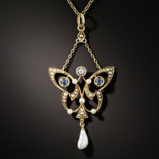 Art Nouveau Sapphire, Diamond and Pearl Necklace - 3