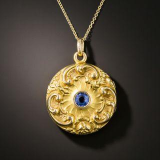 Art Nouveau Sapphire Locket  - 2