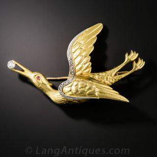 Art Nouveau Stork Brooch