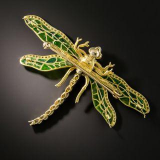 Art Nouveau Style Plique-a-Jour Dragonfly Brooch