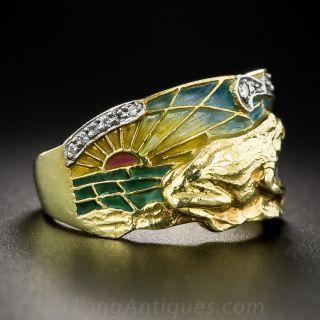 Art Nouveau Style Plique-a-Jour Frog Ring by Masriera