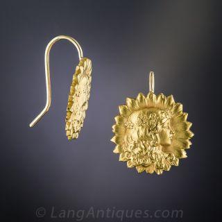 Art Nouveau Sunflower Earrings