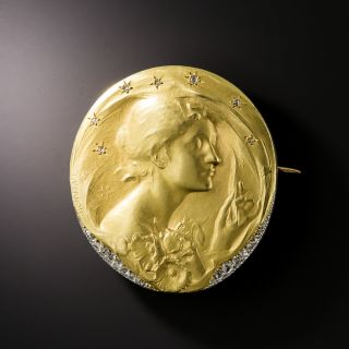 """Art Nouveau """"The Night"""" Medal Brooch by Frederic de Vernon - 2"""