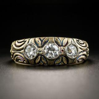 Art Nouveau Three-Diamond Ring - 1