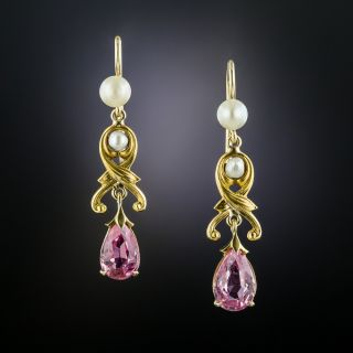 Art Nouveau Tourmaline and Pearl Earrings - 2