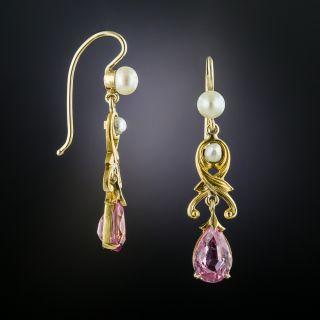 Art Nouveau Tourmaline and Pearl Earrings