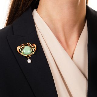 Art Nouveau Turquoise, Enamel, and Pearl Brooch/Pendant by Bippart, Griscom & Osborn