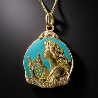 Art Nouveau Turquoise Enamel Locket