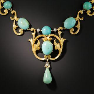 Art Nouveau Turquoise Necklace - 2