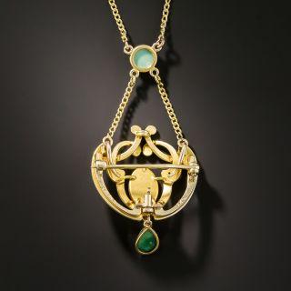 Art Nouveau Turquoise Necklace / Pin