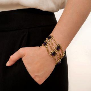 Arts and Crafts Amethyst Cabochon Bracelet by Lebolt