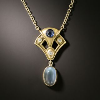 Arts and Crafts Diamond, Sapphire and Moonstone Necklace - 2