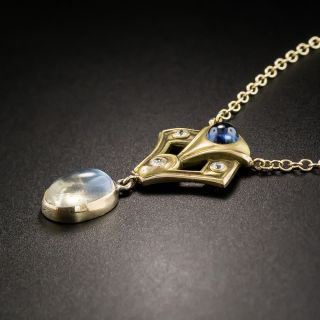 Arts and Crafts Diamond, Sapphire and Moonstone Necklace