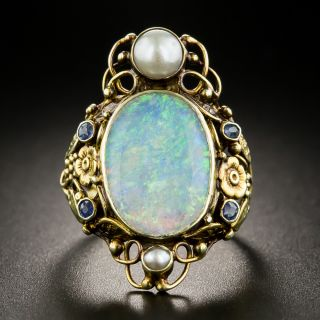 Arts & Crafts Opal Sapphire and Pearl Dinner Ring - 2