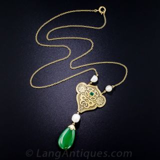Arts & Crafts Jade, Pearl and Emerald Pendant Necklace