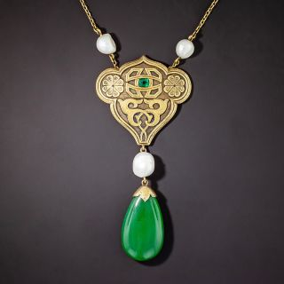 Arts & Crafts Jade, Pearl and Emerald Pendant Necklace - 1