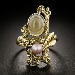 Arts & Crafts Natural Pearl and Agate Ring