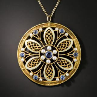 Arts & Crafts Sapphire and Enamel Pendant by Bippart - 3