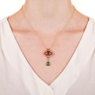Arts & Crafts Tourmaline and Diamond Pendant