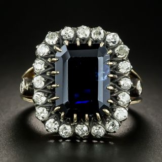 Australian No-Heat Midnight Blue Emerald-Cut Sapphire and Diamond Ring - 3