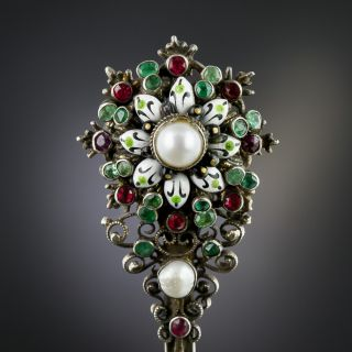 Austro-Hungarian Emerald and Natural Pearl Brooch