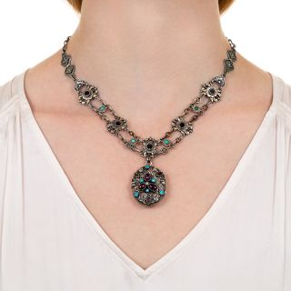 Austro-Hungarian Garnet, Turquoise and Citrine Locket Necklace
