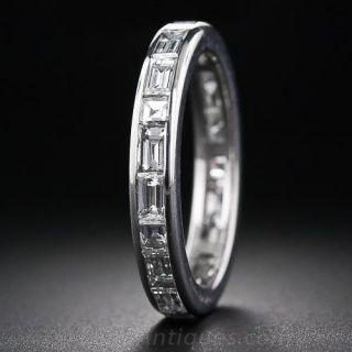 Baguette Diamond Eternity Wedding Band - Size 7 - 1