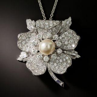 Bailey Banks & Biddle Mid-Century Diamond Flower Brooch / Pendant  - 2