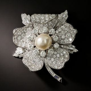 Bailey Banks & Biddle Mid-Century Diamond Flower Brooch / Pendant