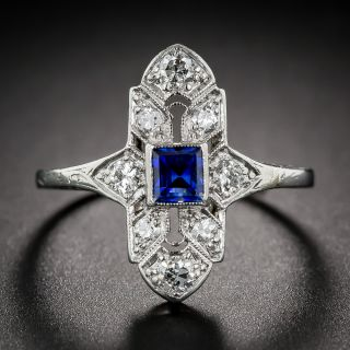 Baily, Banks & Biddle Platinum, Sapphire and Diamond Art Deco Dinner Ring