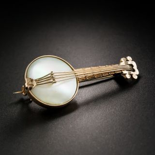 Banjo Mother of Pearl Brooch - 4
