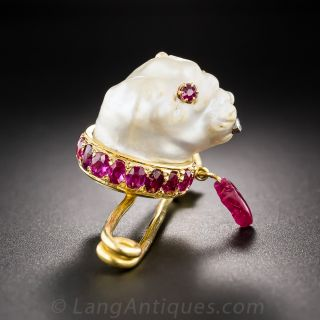 Baroque Pearl and Ruby Dog Pin