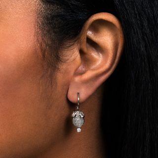 Beehive Baguette Diamond Ear Drops