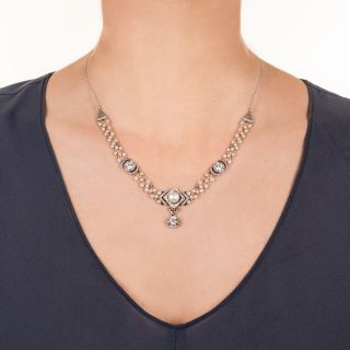 Belle Epoque Diamond and Natural Pearl Necklace
