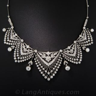 Belle Èpoque Platinum and Diamond Necklace - 1